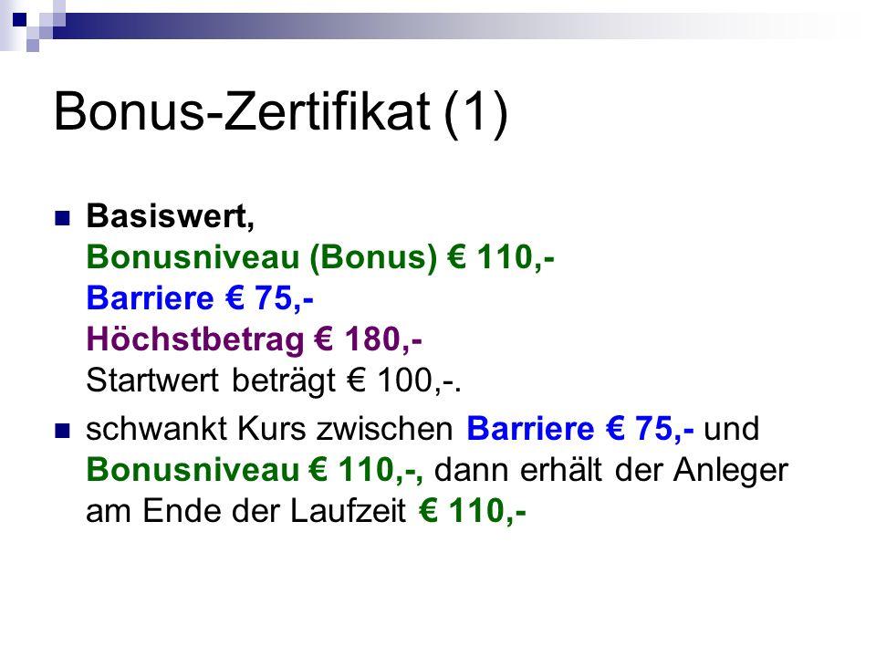 Bonus-Zertifikat (1) Basiswert, Bonusniveau (Bonus) € 110,- Barriere € 75,- Höchstbetrag € 180,- Startwert beträgt € 100,-. schwankt Kurs zwischen Bar