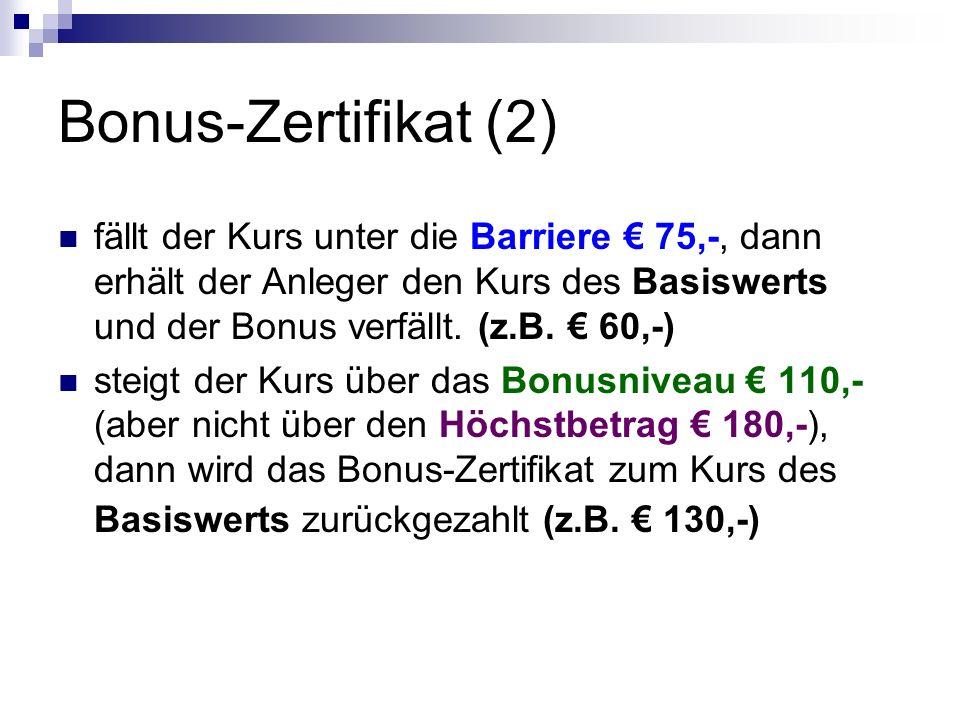Bonus-Zertifikat (2) fällt der Kurs unter die Barriere € 75,-, dann erhält der Anleger den Kurs des Basiswerts und der Bonus verfällt.