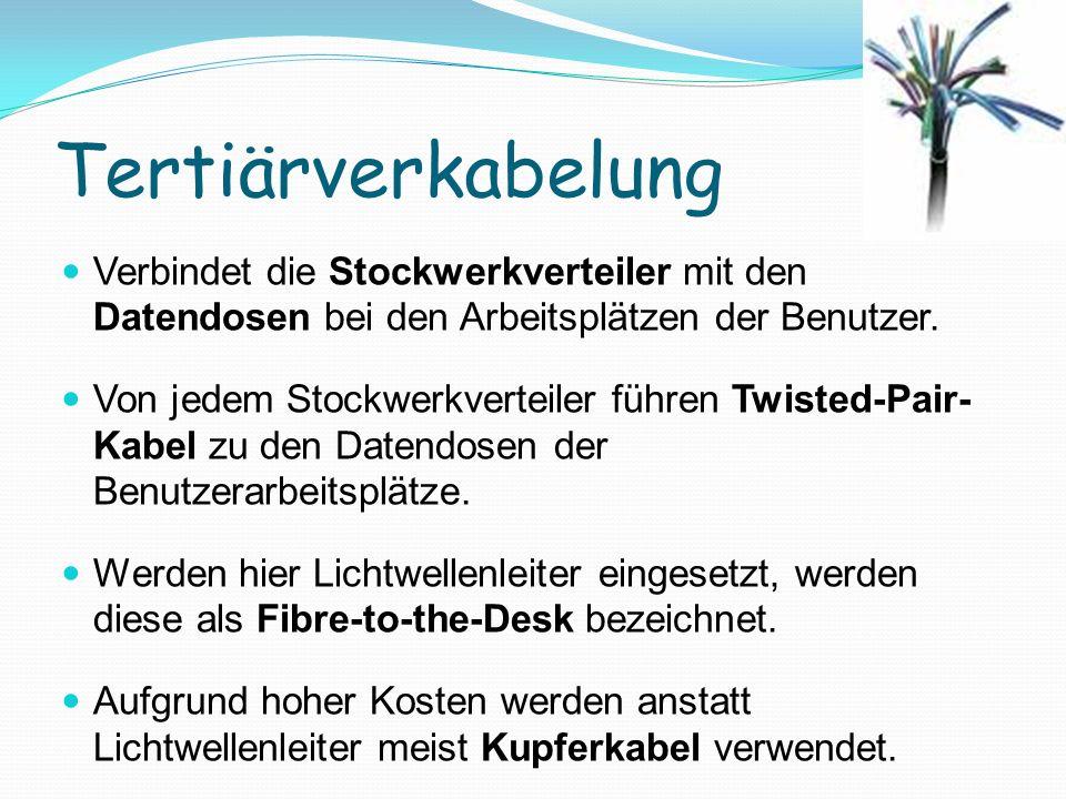 Tertiärverkabelung Verbindet die Stockwerkverteiler mit den Datendosen bei den Arbeitsplätzen der Benutzer. Von jedem Stockwerkverteiler führen Twiste