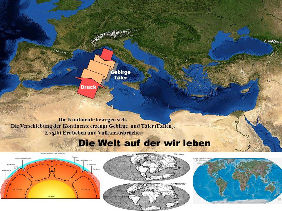 Druck Gebirge Täler Die Welt auf der wir leben Die Kontinente bewegen sich. Die Verschiebung der Kontinente erzeugt Gebirge und Täler (Falten). Es gib