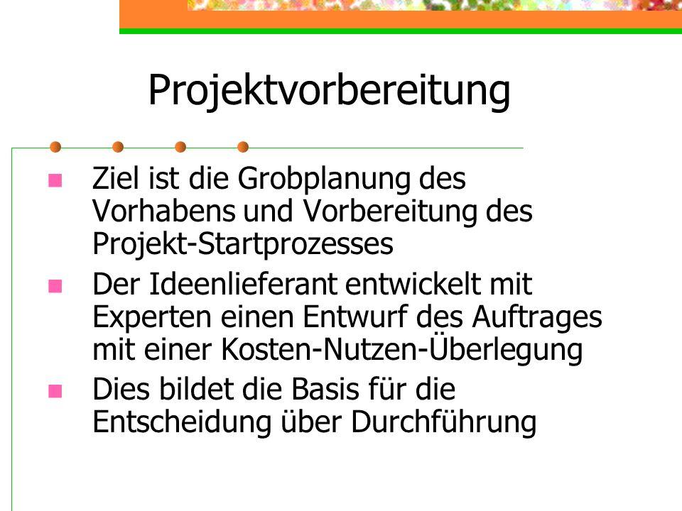 Projektvorbereitung Ziel ist die Grobplanung des Vorhabens und Vorbereitung des Projekt-Startprozesses Der Ideenlieferant entwickelt mit Experten eine