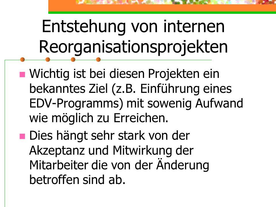 Entstehung von internen Reorganisationsprojekten Wichtig ist bei diesen Projekten ein bekanntes Ziel (z.B. Einführung eines EDV-Programms) mit sowenig