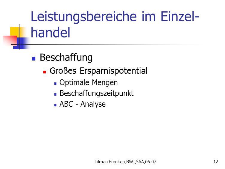 Tilman Frenken,BWI,5AA,06-0712 Leistungsbereiche im Einzel- handel Beschaffung Großes Ersparnispotential Optimale Mengen Beschaffungszeitpunkt ABC - A