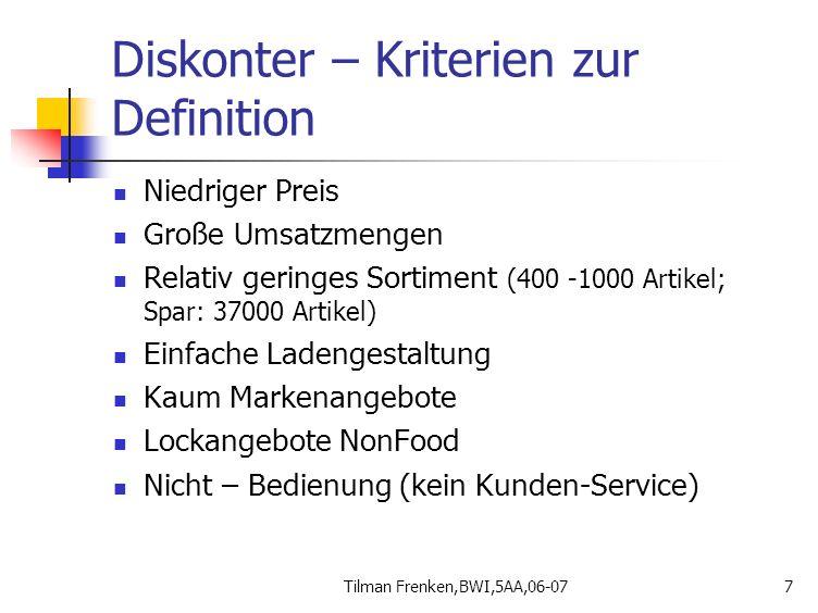 Tilman Frenken,BWI,5AA,06-077 Diskonter – Kriterien zur Definition Niedriger Preis Große Umsatzmengen Relativ geringes Sortiment (400 -1000 Artikel; S