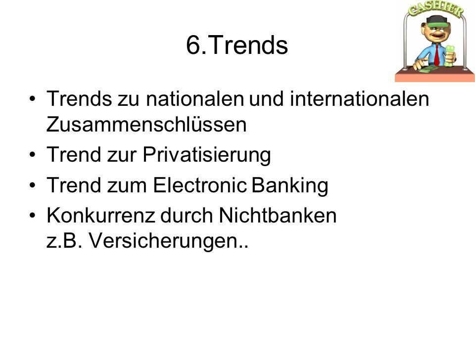 6.Trends Trends zu nationalen und internationalen Zusammenschlüssen Trend zur Privatisierung Trend zum Electronic Banking Konkurrenz durch Nichtbanken z.B.