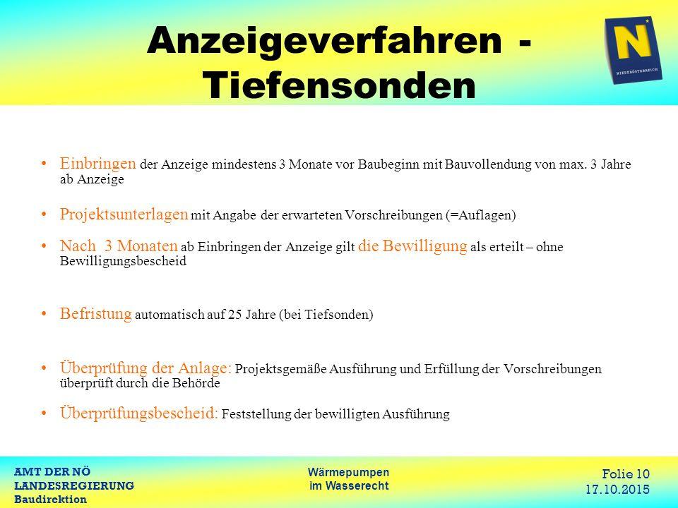 AMT DER NÖ LANDESREGIERUNG Baudirektion Wärmepumpen im Wasserecht Folie 10 17.10.2015 Anzeigeverfahren - Tiefensonden Einbringen der Anzeige mindesten