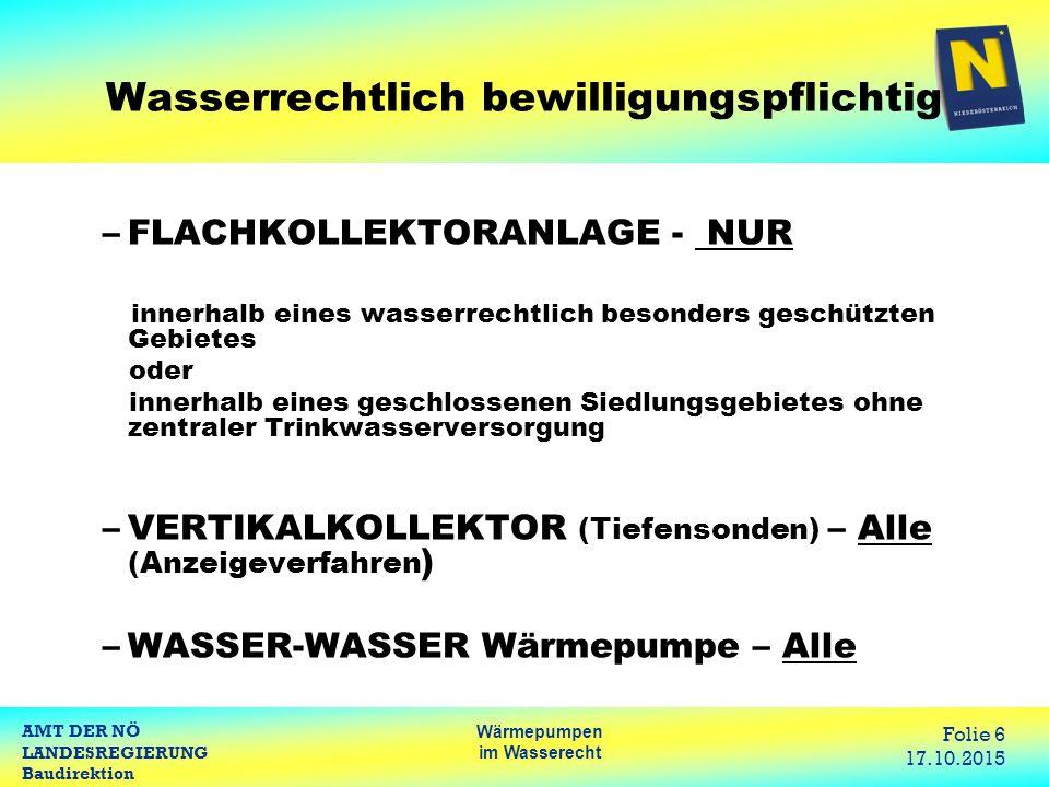 AMT DER NÖ LANDESREGIERUNG Baudirektion Wärmepumpen im Wasserecht Folie 17 17.10.2015 Bestehende Wasserrechte