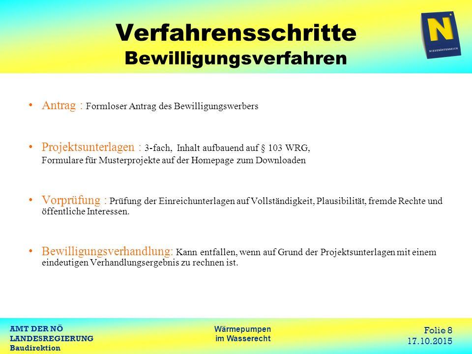 AMT DER NÖ LANDESREGIERUNG Baudirektion Wärmepumpen im Wasserecht Folie 8 17.10.2015 Verfahrensschritte Bewilligungsverfahren Antrag : Formloser Antra