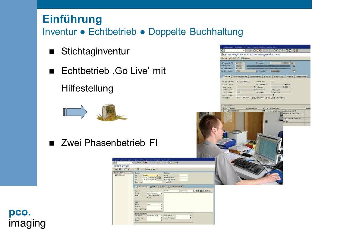 pco. imaging Einführung Inventur ● Echtbetrieb ● Doppelte Buchhaltung Stichtaginventur Echtbetrieb 'Go Live' mit Hilfestellung Zwei Phasenbetrieb FI