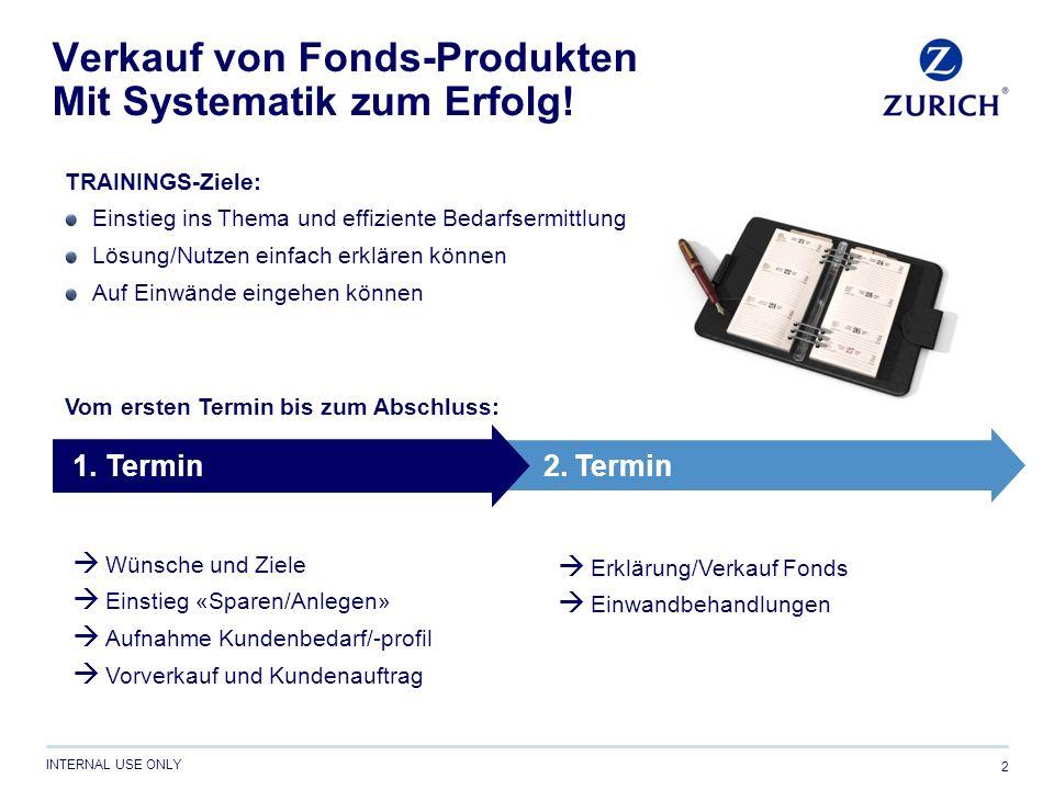 INTERNAL USE ONLY Verkauf von Fonds-Produkten Mit Systematik zum Erfolg! 2  Wünsche und Ziele  Einstieg «Sparen/Anlegen»  Aufnahme Kundenbedarf/-pr