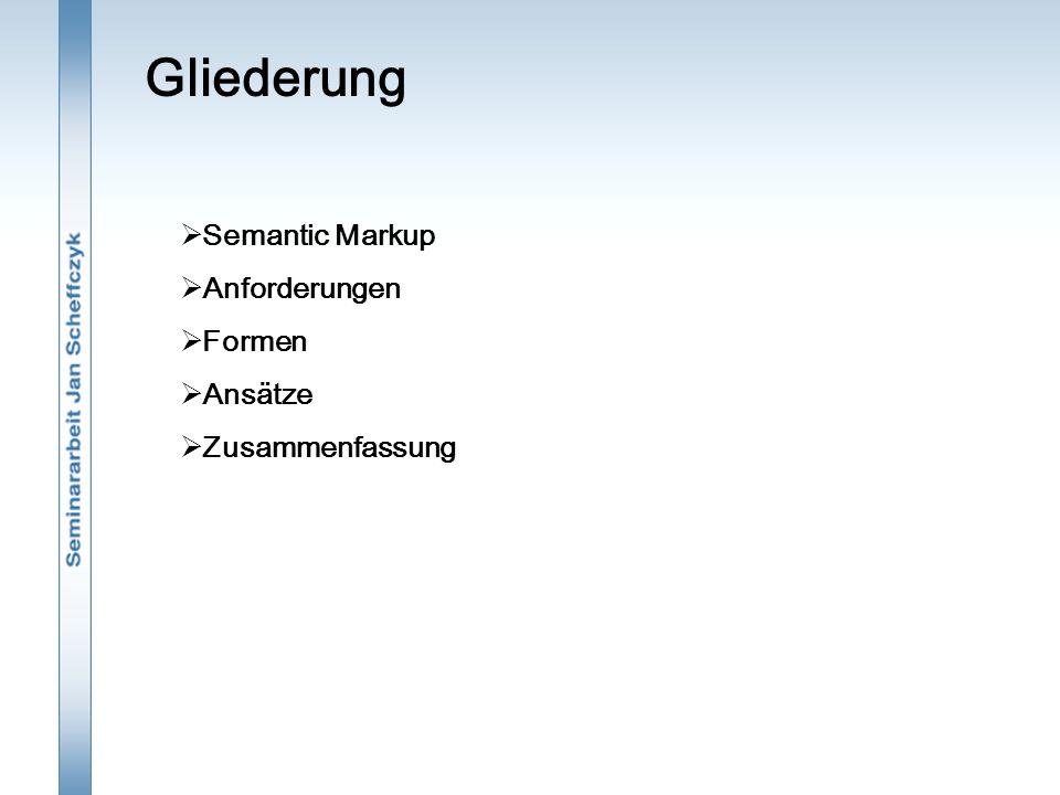 Gliederung  Semantic Markup  Anforderungen  Formen  Ansätze  Zusammenfassung