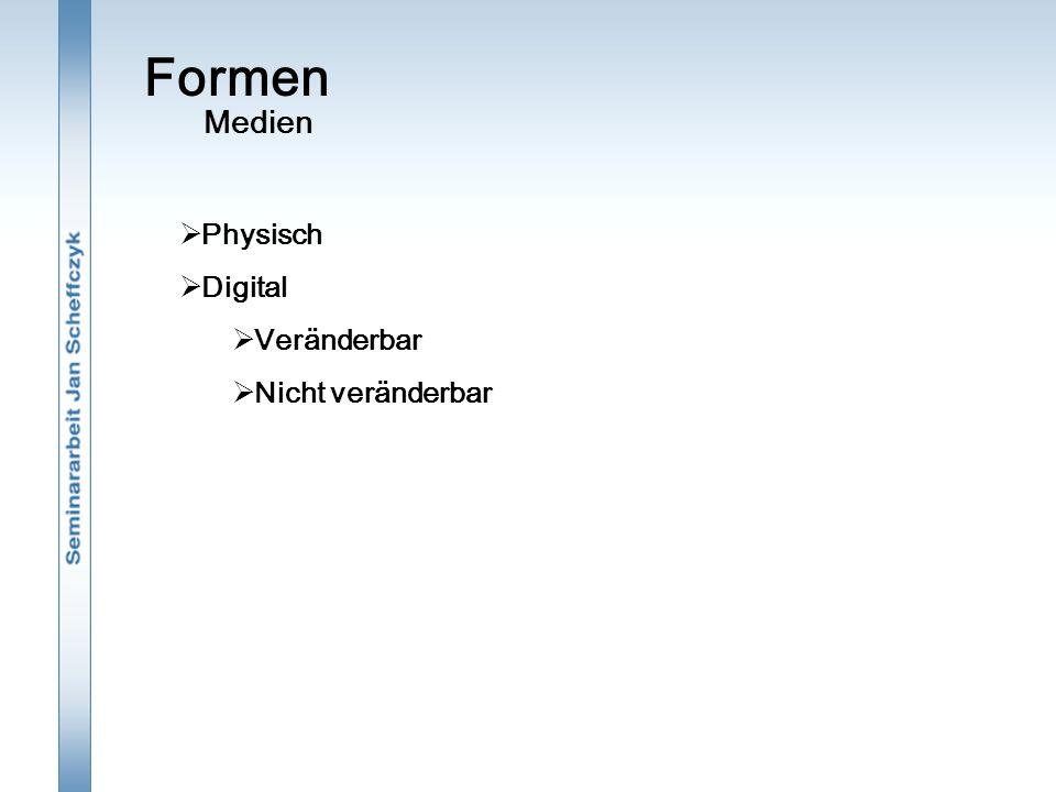 Formen  Physisch  Digital  Veränderbar  Nicht veränderbar Medien