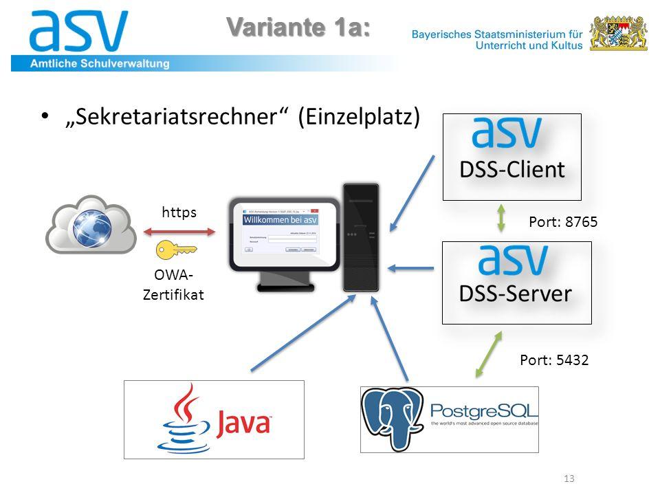 "Variante 1a: 13 ""Sekretariatsrechner (Einzelplatz) Port: 8765 Port: 5432 https OWA- Zertifikat"