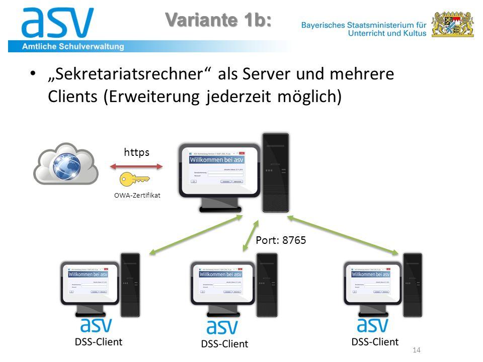 """Variante 1b: 14 """"Sekretariatsrechner"""" als Server und mehrere Clients (Erweiterung jederzeit möglich) Port: 8765 https OWA-Zertifikat"""