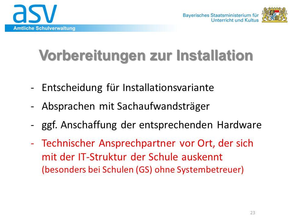 Vorbereitungen zur Installation -Entscheidung für Installationsvariante -Absprachen mit Sachaufwandsträger -ggf. Anschaffung der entsprechenden Hardwa