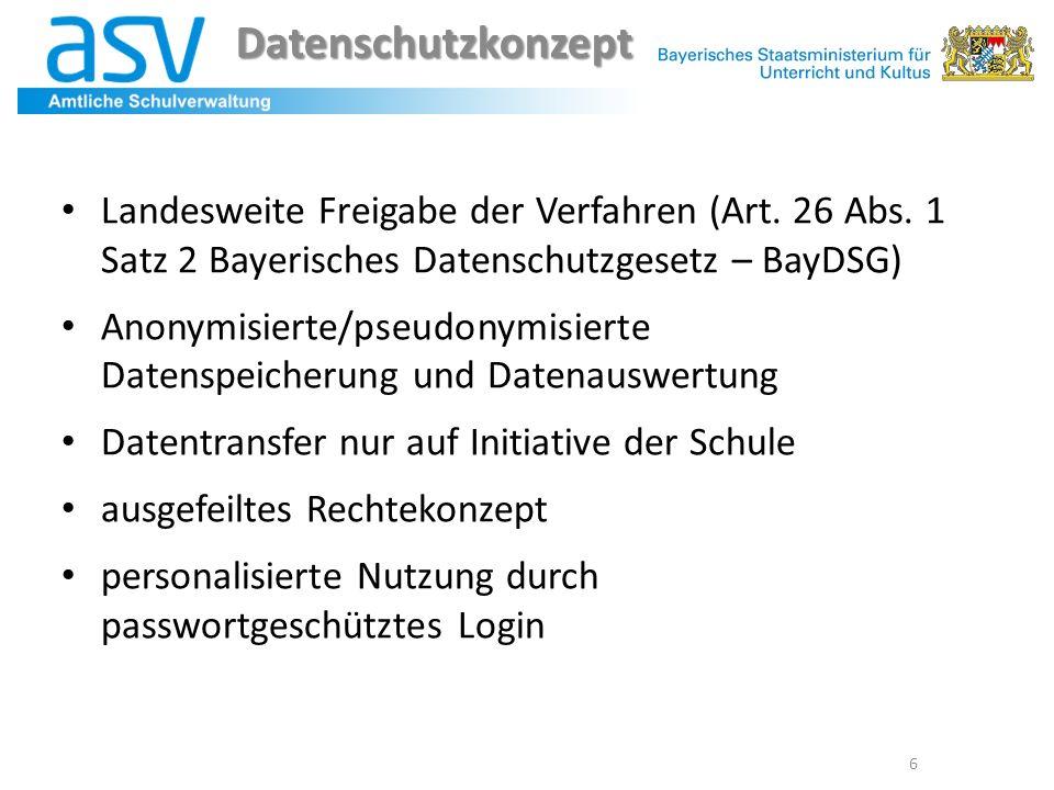 Datenschutzkonzept 6 Landesweite Freigabe der Verfahren (Art. 26 Abs. 1 Satz 2 Bayerisches Datenschutzgesetz – BayDSG) Anonymisierte/pseudonymisierte