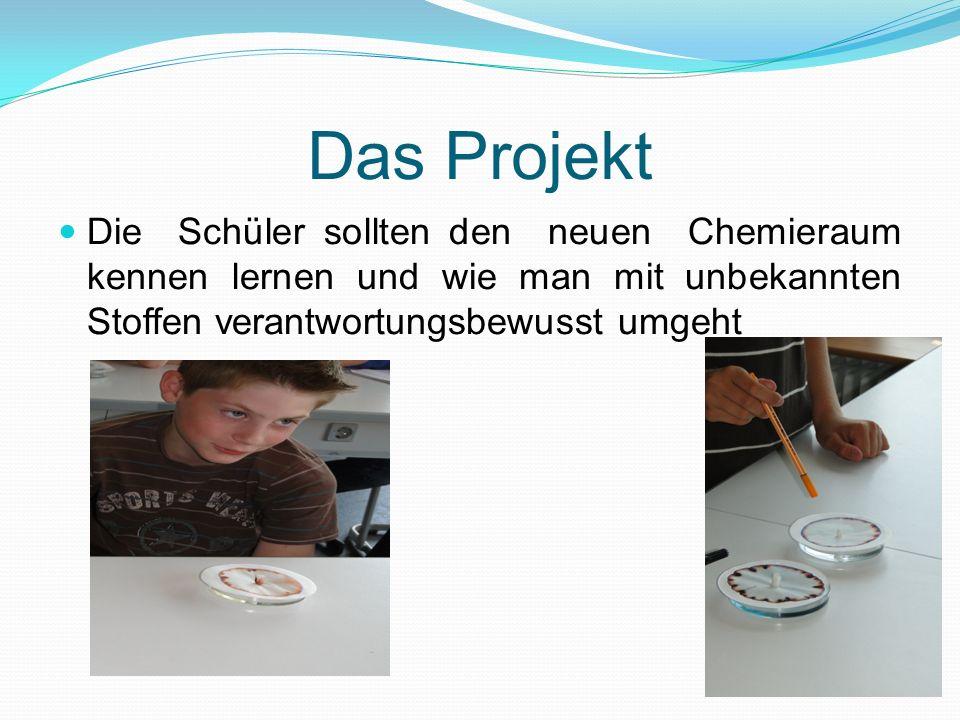 Das Projekt Die Schüler sollten den neuen Chemieraum kennen lernen und wie man mit unbekannten Stoffen verantwortungsbewusst umgeht