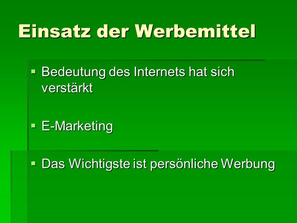 Einsatz der Werbemittel  Bedeutung des Internets hat sich verstärkt  E-Marketing  Das Wichtigste ist persönliche Werbung