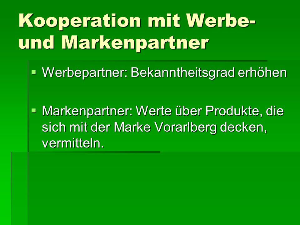 Kooperation mit Werbe- und Markenpartner  Werbepartner: Bekanntheitsgrad erhöhen  Markenpartner: Werte über Produkte, die sich mit der Marke Vorarlb