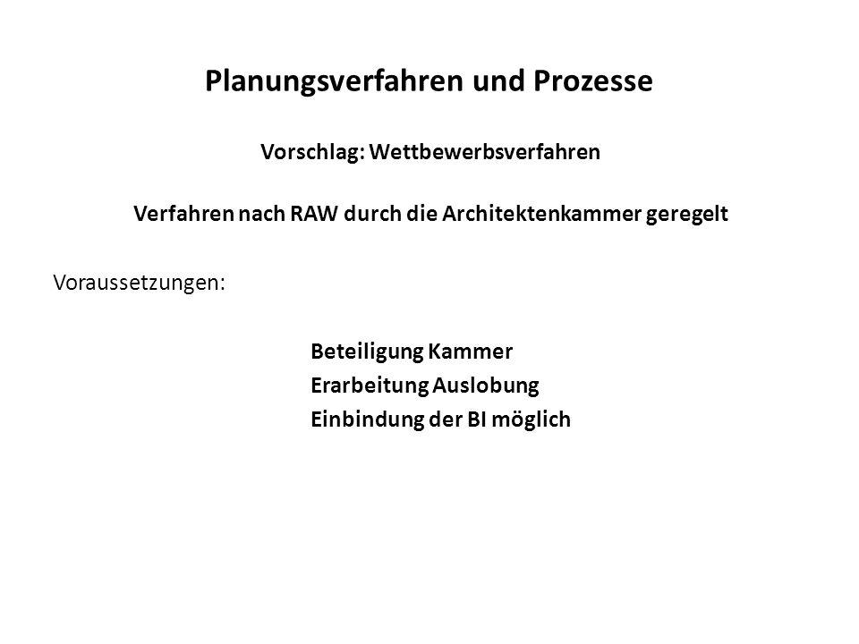 Planungsverfahren und Prozesse Vorschlag: Wettbewerbsverfahren Verfahren nach RAW durch die Architektenkammer geregelt Voraussetzungen: Beteiligung Kammer Erarbeitung Auslobung Einbindung der BI möglich