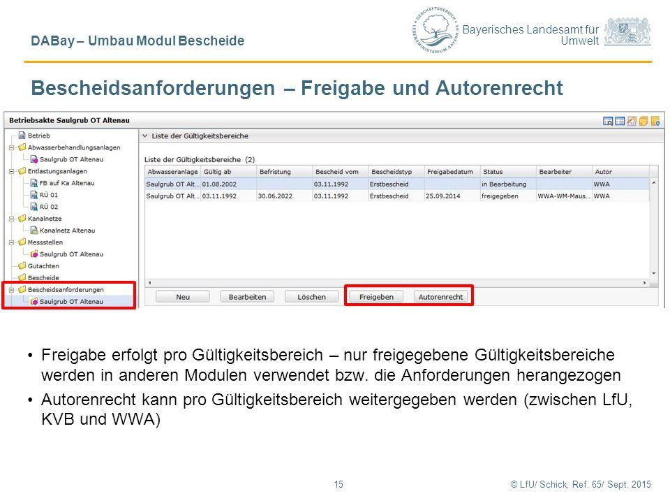 Bayerisches Landesamt für Umwelt © LfU/ Schick, Ref. 65/ Sept. 201515 DABay – Umbau Modul Bescheide Bescheidsanforderungen – Freigabe und Autorenrecht