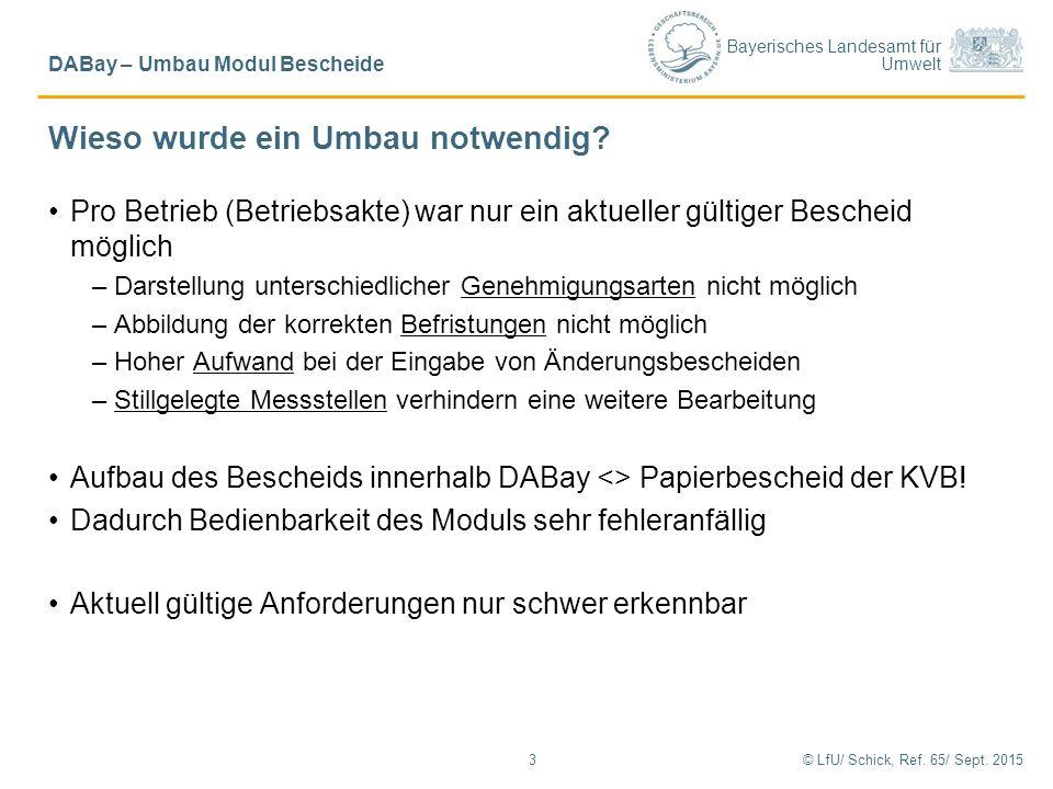 Bayerisches Landesamt für Umwelt Wieso wurde ein Umbau notwendig? Pro Betrieb (Betriebsakte) war nur ein aktueller gültiger Bescheid möglich –Darstell