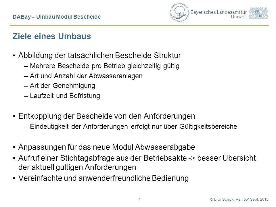 Bayerisches Landesamt für Umwelt Ziele eines Umbaus Abbildung der tatsächlichen Bescheide-Struktur –Mehrere Bescheide pro Betrieb gleichzeitig gültig
