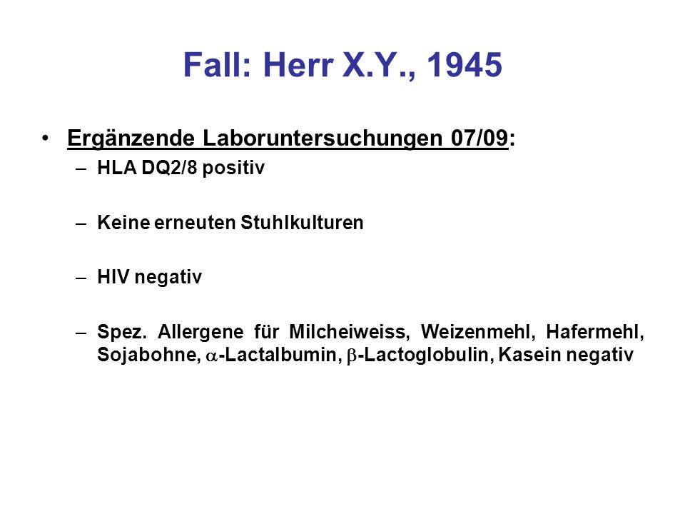 Fall: Herr X.Y., 1945 Ergänzende Laboruntersuchungen 07/09: –HLA DQ2/8 positiv –Keine erneuten Stuhlkulturen –HIV negativ –Spez. Allergene für Milchei