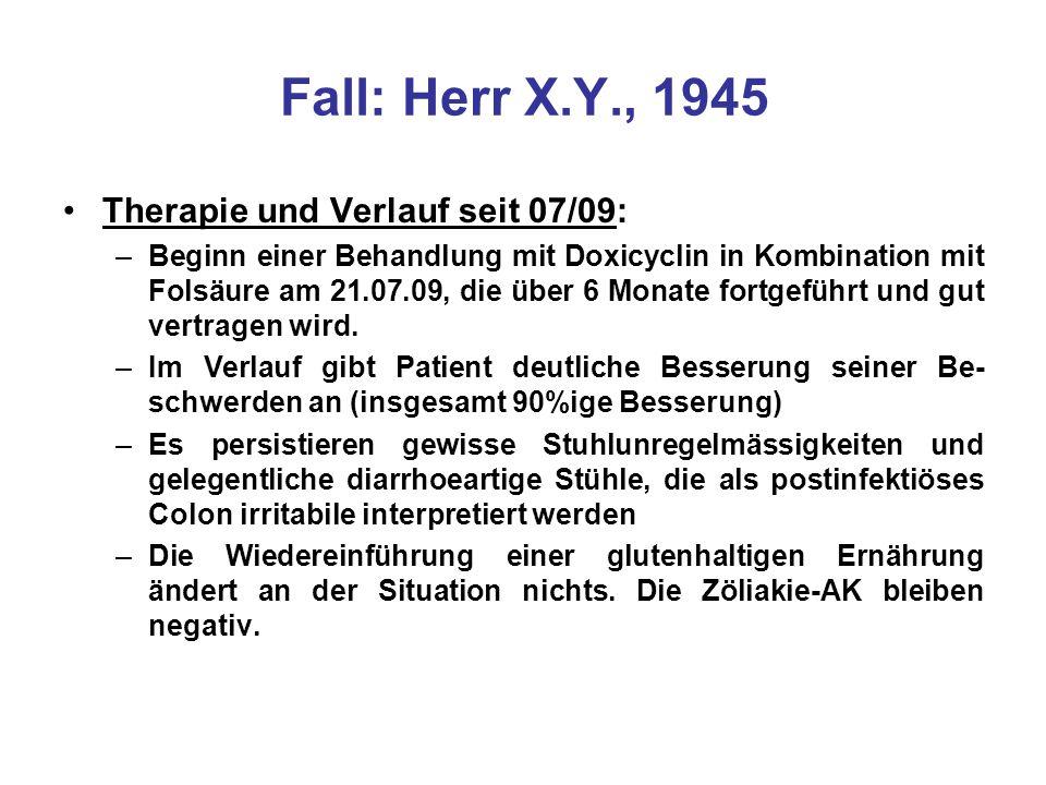 Therapie und Verlauf seit 07/09: –Beginn einer Behandlung mit Doxicyclin in Kombination mit Folsäure am 21.07.09, die über 6 Monate fortgeführt und gu