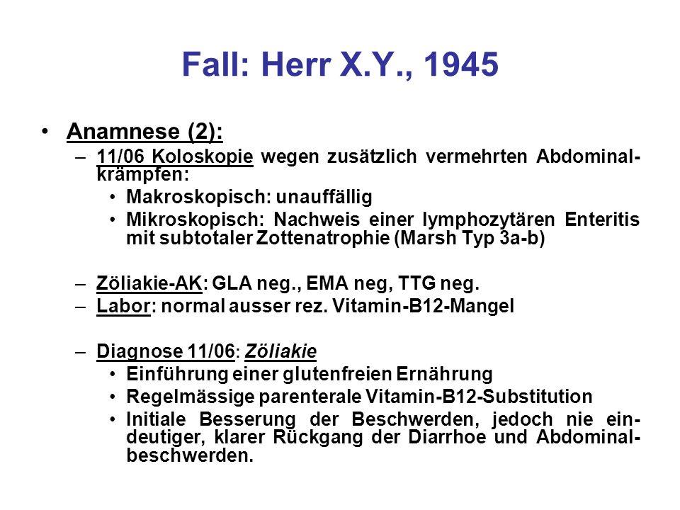 Fall: Herr X.Y., 1945 Abklärungen seit 07/09: –Status: Patient in gutem AZ, BMI von 19.8 kg/m2 –Labor: Diskrete nch, nzyt Anämie (Hb 13.4g/dl) –Leukozyten normal inkl.