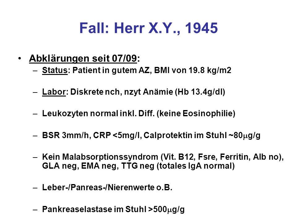 Fall: Herr X.Y., 1945 Gastroskopie 07/09: –Makroskopisch: flache Duodenalschleimhaut –Mikroskopisch: lymphozytäre Enteritis Marsh Typ 1 bis herdförmig 3a-b Anteile eines tubulären Adenoms (low-grade) Koloskopie 07/09: –Makroskopisch: flache Ileumschleimhaut, Polyp im Sigma –Mikroskopisch: Lymphozytäre Enteritis Marsh Typ 3a-b Intestinale Spirochätose Tubuläres Adenom (low-grade)