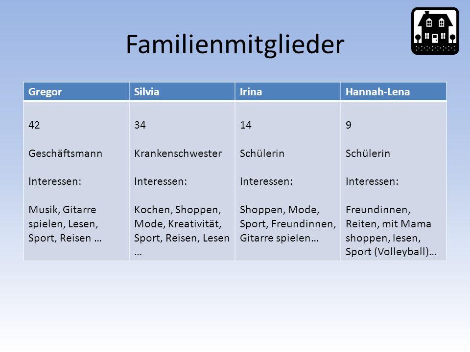 Familienmitglieder GregorSilviaIrinaHannah-Lena 42 Geschäftsmann Interessen: Musik, Gitarre spielen, Lesen, Sport, Reisen … 34 Krankenschwester Intere