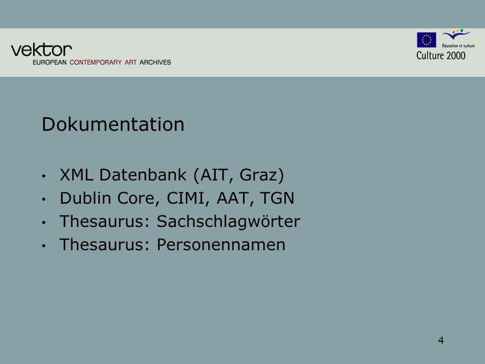 4 Dokumentation XML Datenbank (AIT, Graz) Dublin Core, CIMI, AAT, TGN Thesaurus: Sachschlagwörter Thesaurus: Personennamen