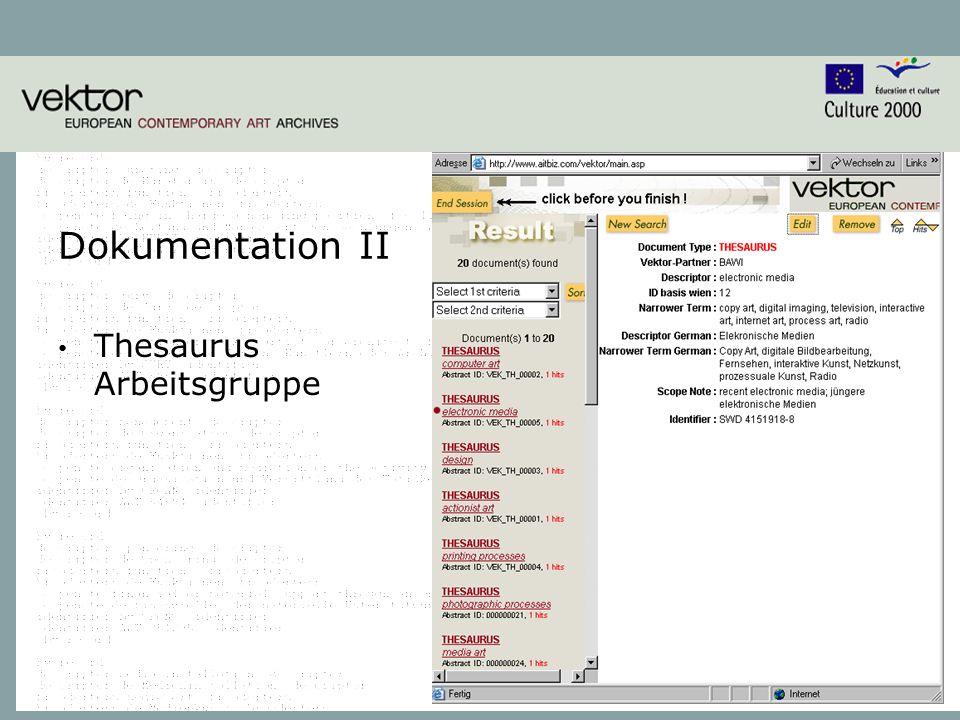 6 Dokumentation II Thesaurus Arbeitsgruppe