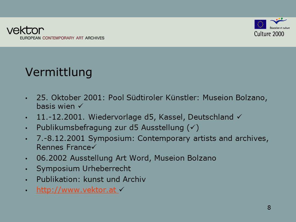 8 Vermittlung 25. Oktober 2001: Pool Südtiroler Künstler: Museion Bolzano, basis wien 11.-12.2001.