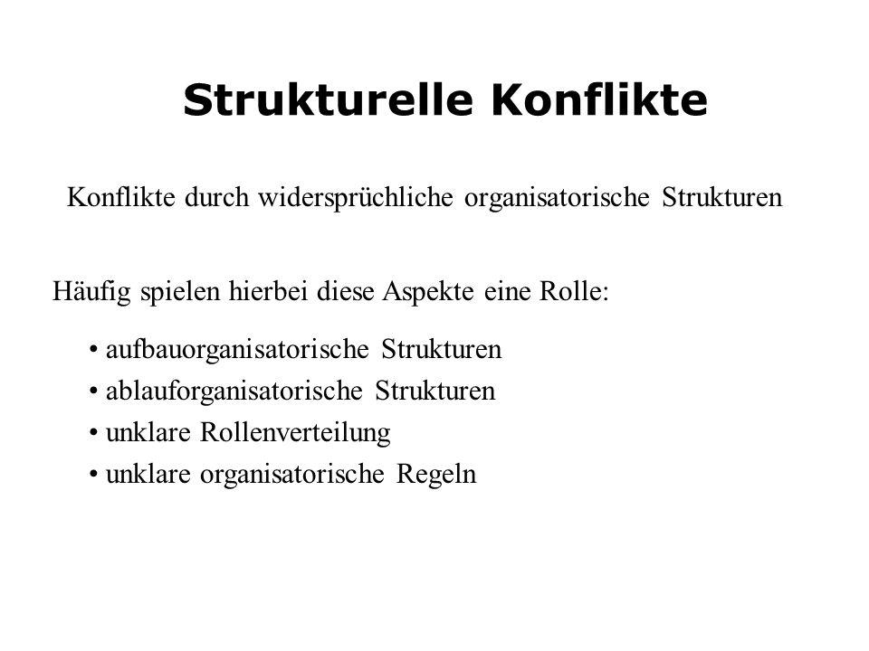 Konflikte durch widersprüchliche organisatorische Strukturen Strukturelle Konflikte aufbauorganisatorische Strukturen ablauforganisatorische Strukture