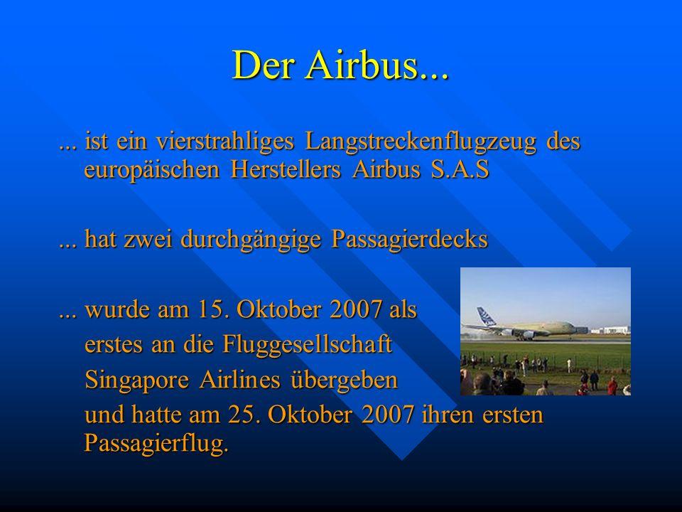 Der Airbus...... ist ein vierstrahliges Langstreckenflugzeug des europäischen Herstellers Airbus S.A.S... hat zwei durchgängige Passagierdecks... wurd
