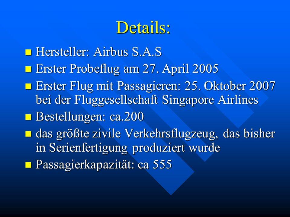 Details: Hersteller: Airbus S.A.S Hersteller: Airbus S.A.S Erster Probeflug am 27.