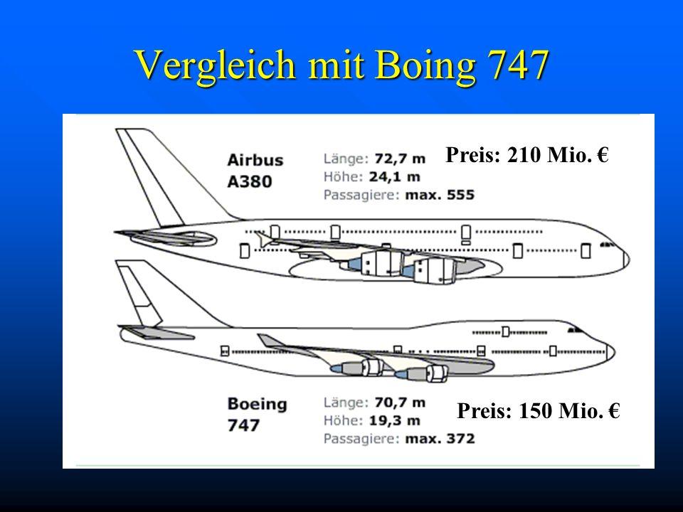 Vergleich mit Boing 747 Preis: 210 Mio. € Preis: 150 Mio. €