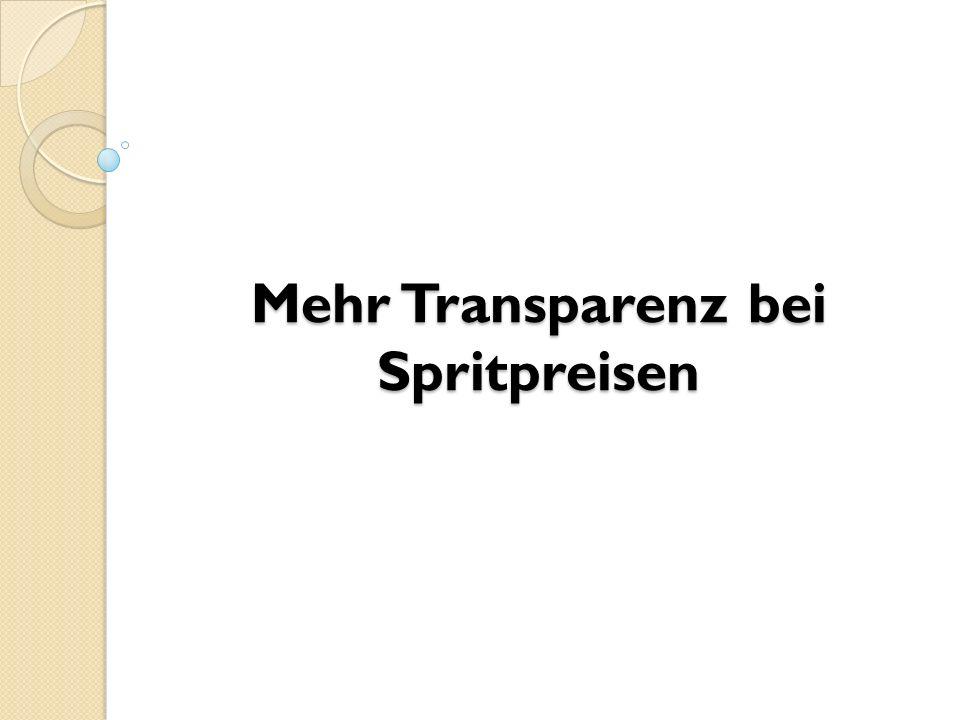 Mehr Transparenz bei Spritpreisen