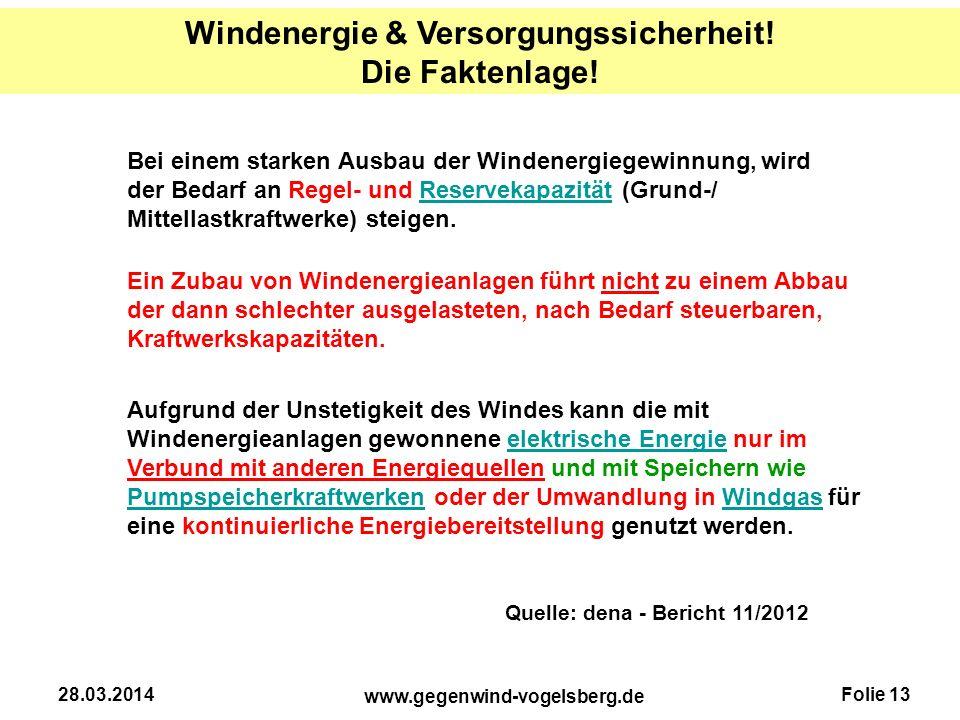 Folie 13 www.gegenwind-vogelsberg.de 28.03.2014 Bei einem starken Ausbau der Windenergiegewinnung, wird der Bedarf an Regel- und Reservekapazität (Gru