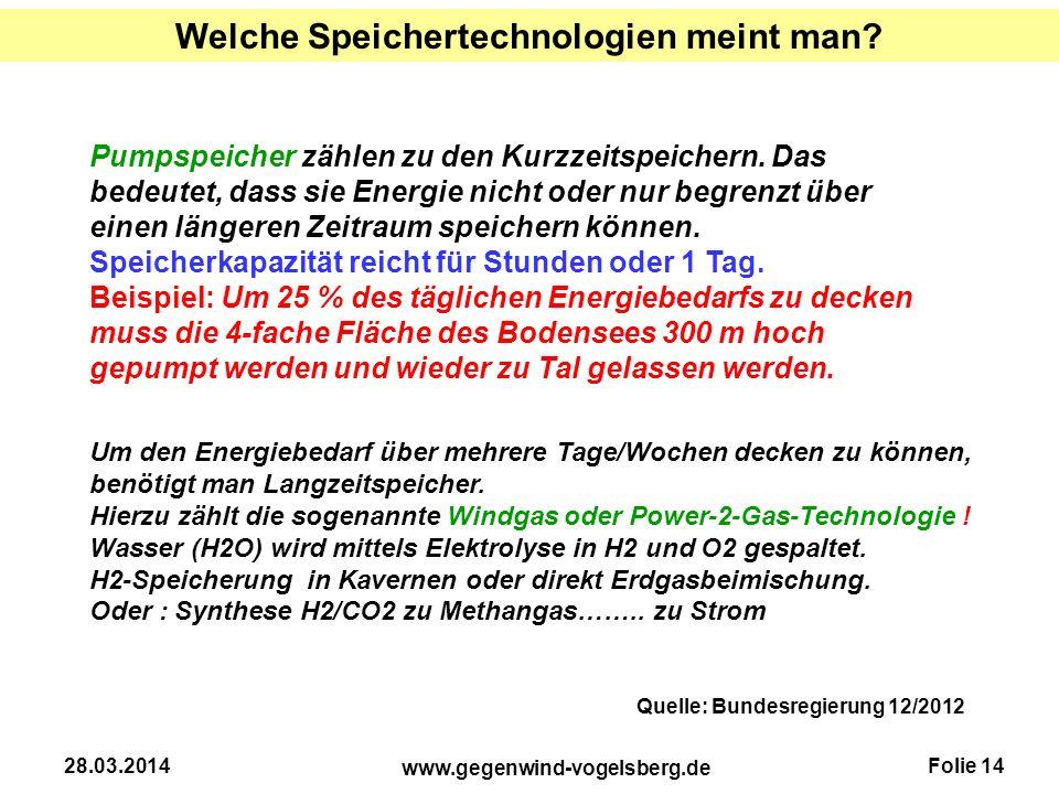 Folie 14 www.gegenwind-vogelsberg.de 28.03.2014 Pumpspeicher zählen zu den Kurzzeitspeichern. Das bedeutet, dass sie Energie nicht oder nur begrenzt ü