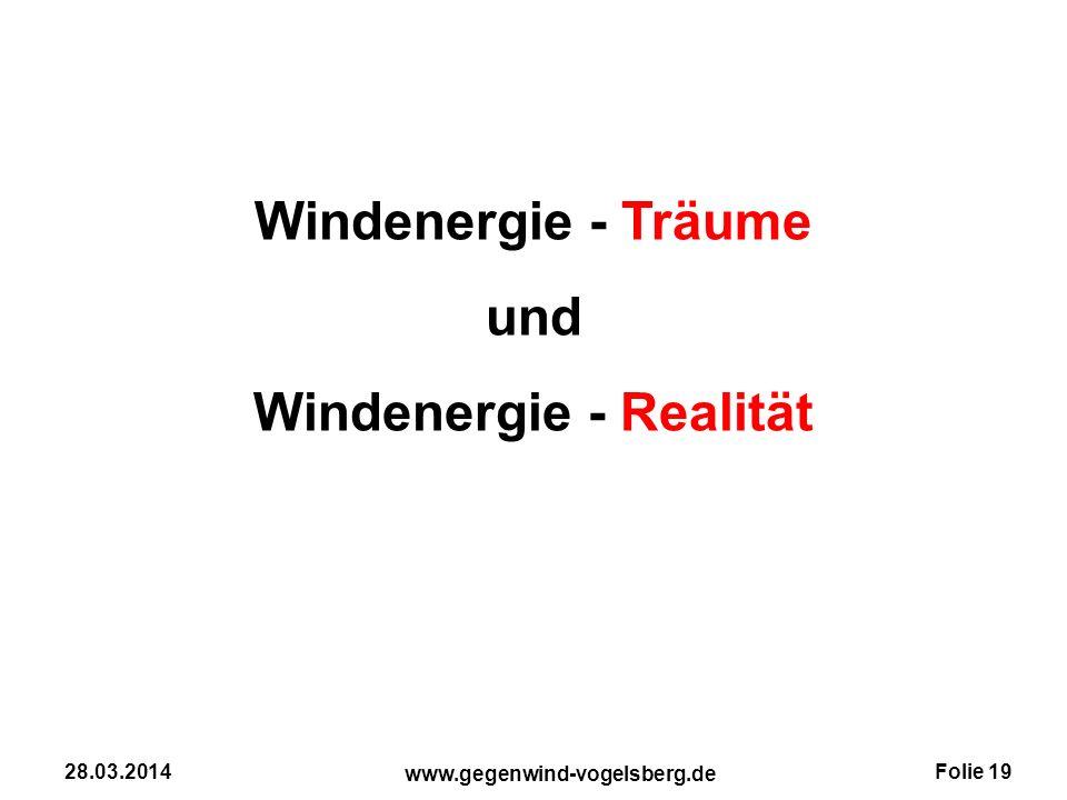 Folie 19 www.gegenwind-vogelsberg.de 28.03.2014 Windenergie - Träume und Windenergie - Realität