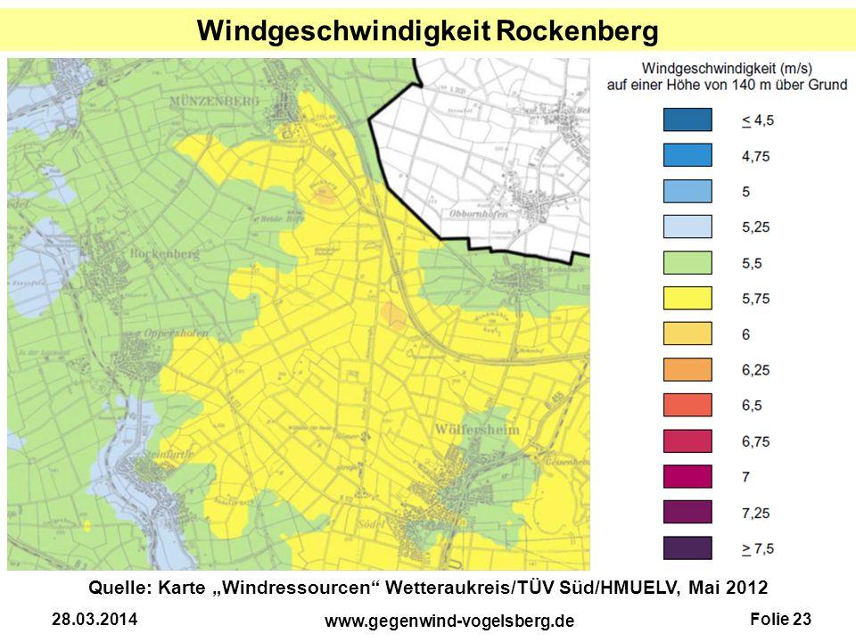 """Folie 23 www.gegenwind-vogelsberg.de 28.03.2014 Windgeschwindigkeit Rockenberg Quelle: Karte """"Windressourcen"""" Wetteraukreis/TÜV Süd/HMUELV, Mai 2012"""