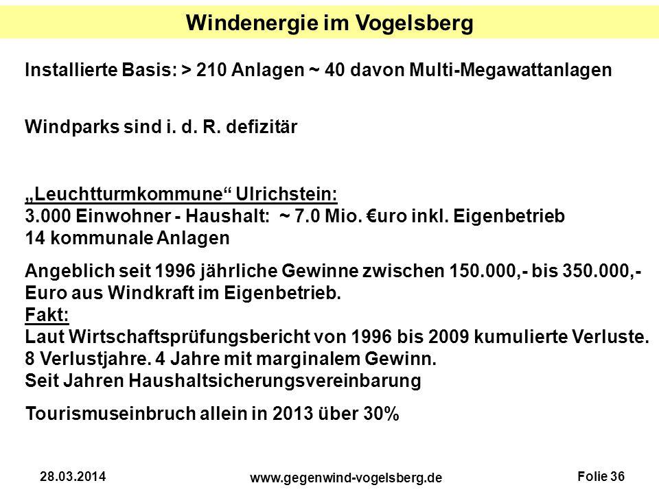 Folie 36 www.gegenwind-vogelsberg.de 28.03.2014 Windenergie im Vogelsberg Installierte Basis: > 210 Anlagen ~ 40 davon Multi-Megawattanlagen Windparks