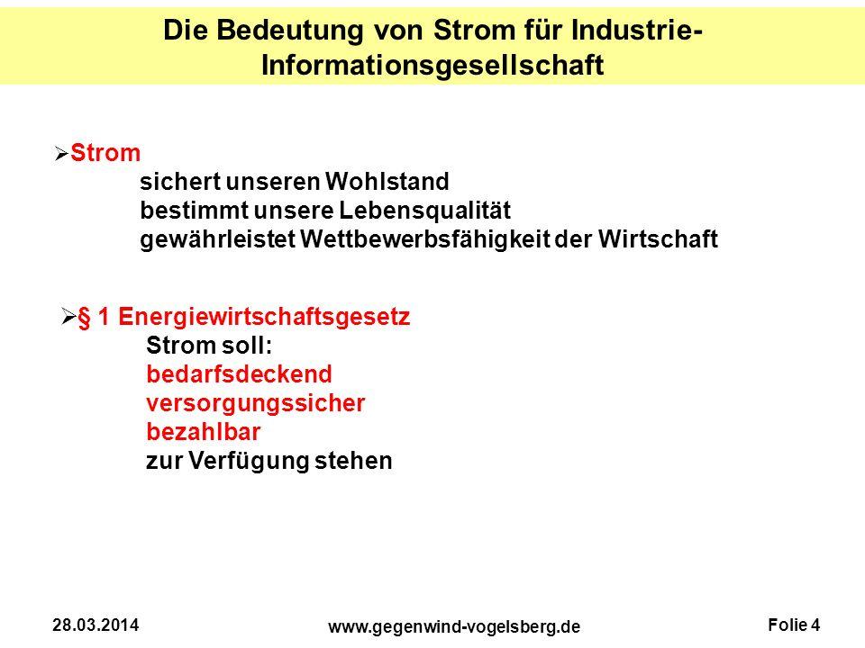 Folie 4 www.gegenwind-vogelsberg.de 28.03.2014 Die Bedeutung von Strom für Industrie- Informationsgesellschaft  Strom sichert unseren Wohlstand besti