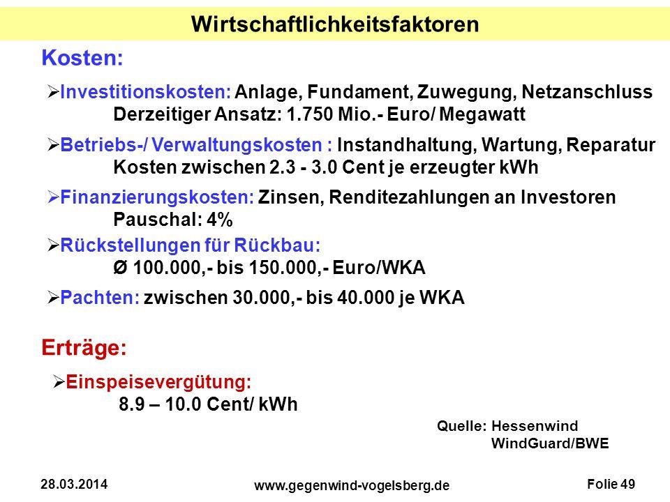 Folie 49 www.gegenwind-vogelsberg.de 28.03.2014 Wirtschaftlichkeitsfaktoren  Investitionskosten: Anlage, Fundament, Zuwegung, Netzanschluss Derzeitig