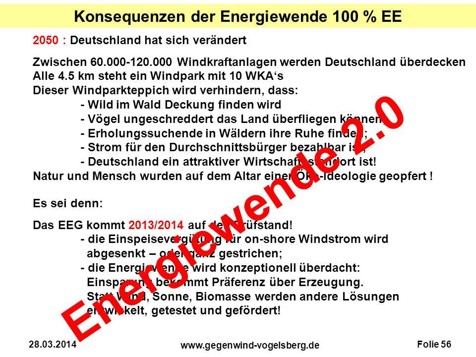 Folie 56 www.gegenwind-vogelsberg.de 28.03.2014 Konsequenzen der Energiewende 100 % EE 2050 : Deutschland hat sich verändert Zwischen 60.000-120.000 W