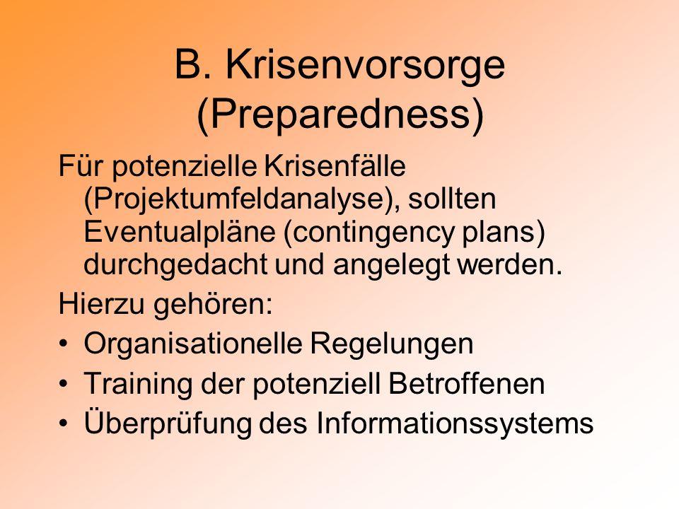 B. Krisenvorsorge (Preparedness) Für potenzielle Krisenfälle (Projektumfeldanalyse), sollten Eventualpläne (contingency plans) durchgedacht und angele