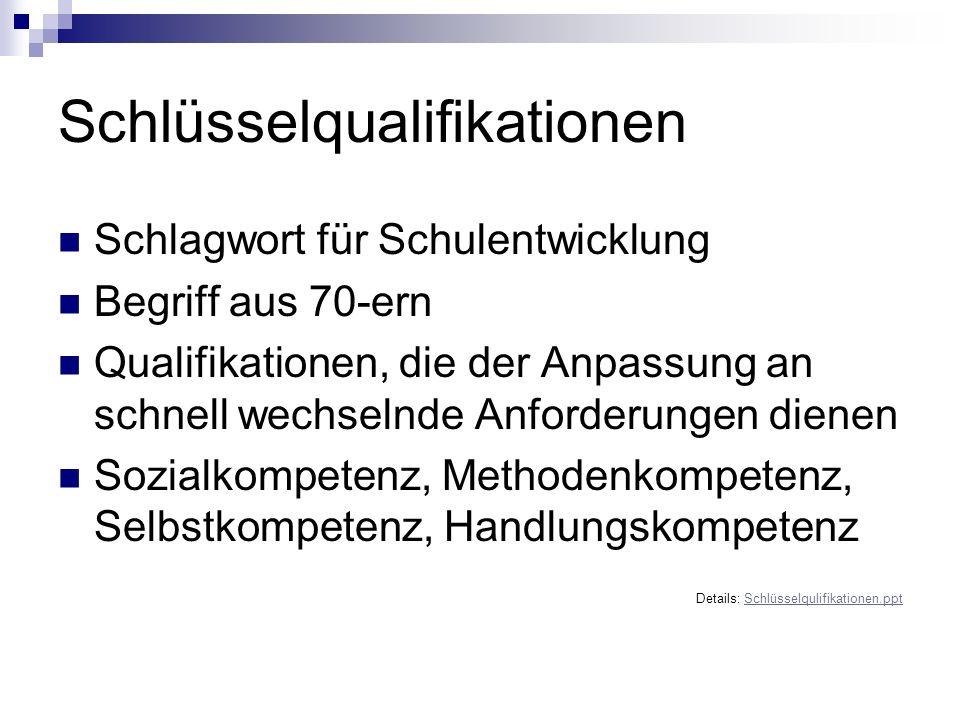 Schlüsselqualifikationen Schlagwort für Schulentwicklung Begriff aus 70-ern Qualifikationen, die der Anpassung an schnell wechselnde Anforderungen die